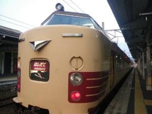 夏の夕刻、天橋立にて。あまりにわかりやすい特急列車。